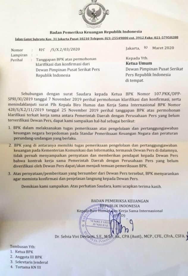 Bukti surat BPK RI ke SPRI bahwa tidak menggunakan Verifikasi Media Dewan Pers dlm pemeriksaan keuangan Pemda.